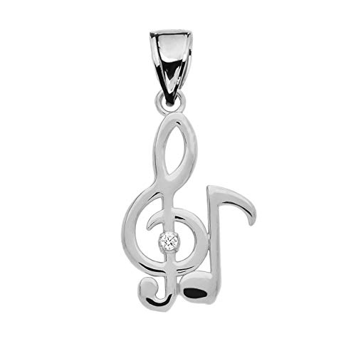 Diamond Treble Clef and Eighth Note Music 9 ct White Gold Pendant Necklace Necklace (Available Chain Length 16'- 18'- 20'- 22') B