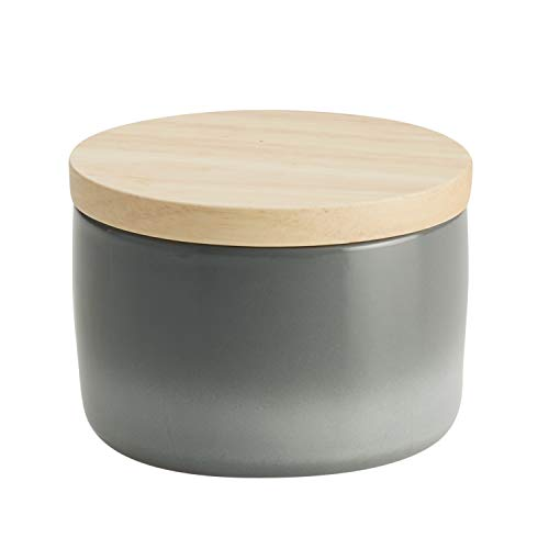 Rachael Ray Solid Glaze Ceramics Salt and Spice Box with Wood Lid for Seasoning, Cooking, Serving, 9 Ounce, Gray Ombre