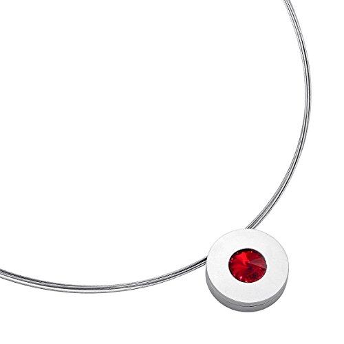 Heideman Halskette Damen Lumen aus Edelstahl Silber farbend matt Kette für Frauen mit Stein Kristall siam rot im Fantasie Edelsteinschliff 10mm