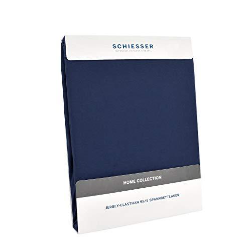 Schiesser Premium Spannbettlaken Jersey-Elasthan, 95% Gekämmte Baumwolle, 5% Elasthan, Wasserbett- / Boxspringbettgeeignet, Farbe:Marine, Größe:150 cm x 200 cm