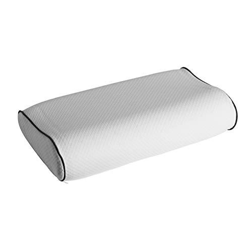 ABAKUHAUS Contour Memory Schaum Kissen, Orthopädische Halswirbelsäule Technologie Atmungsaktive Löcher Gel Foam Bettkissen Ideale Kopfkissen für Nackenschmerzen, 37 cm X 58 cm X 14 cm, White