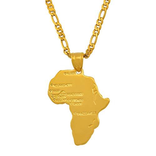 Milorankie 8 Stile / Afrika Anhänger Halskette Kette Karte Afrika Karte Für Frau Mädchen Set Gold # 132106-8