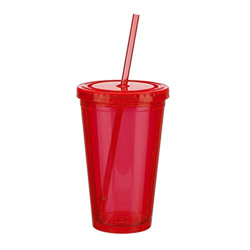 IRYNA - Tazza da 480 ml, trasparente con cannuccia, a prova di perdite, bicchiere da caffè e succo