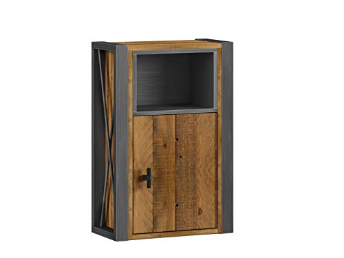 Woodkings® Bad Hängeschrank Detroit Holz-Metall-Mix recycelte Pinie, Industrial Möbel Design Badmöbel