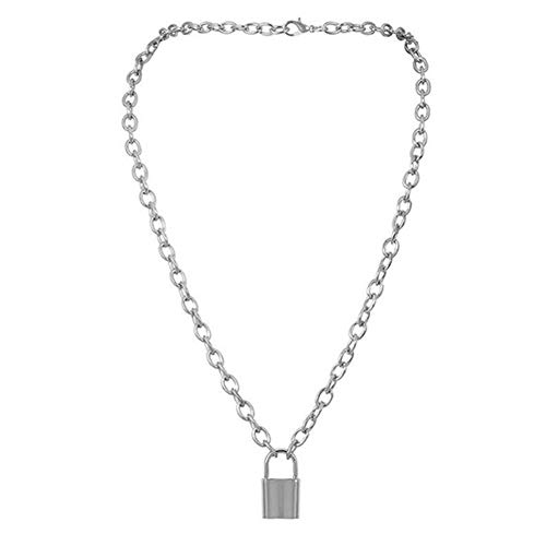 FURUN Lock Pendant Necklace Square Padlock Long Metal Statement Chain Punk Retro Hippie Hip Hop Collar Choker Adjustable Necklace Golden Silver Color Jewelry for Men Women Unisex