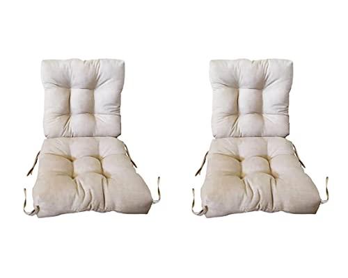 Pack 2 Cojines con Respaldo de Silla Jardin 90 x 45x 10 cm. Conjunto Cojin de Asiento para Interior y Exterior Cómodo. Cojines para sillas Comedor, mecedoras, Bancos terraza (Beige)