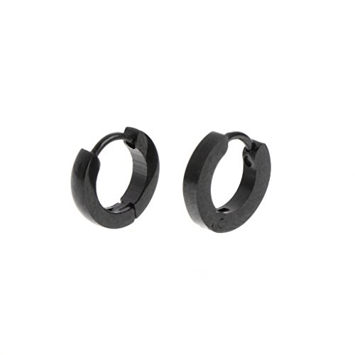 Richi Ear Stud Color Negro Pendientes De Aro De Acero Inoxidable para...