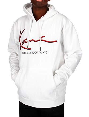 Karl Kani Signature Hoodie Felpa nera Logo Bianco con Cappuccio 6091822