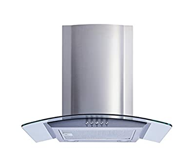 Winflo 30 In. Convertible Stainless Steel/Glass Wall Mount Range Hood with Mesh Filters and Push Button Control