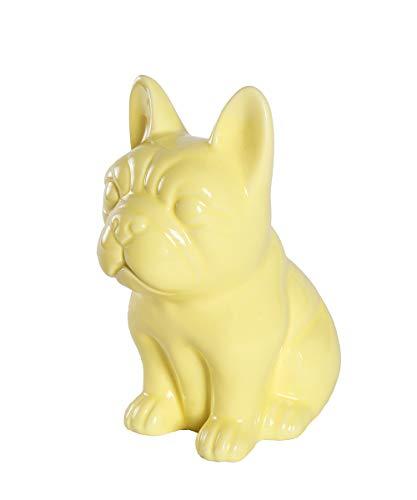Nayothecorgi Ceramic Dog Statue - Sitting French Bulldog (Shiny Yellow)
