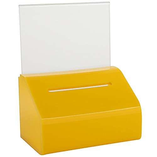 MCB–pequeño claro Caridad donación Urnas con cerradura y soporte de letrero–Slopie–donación caja–caja de Votación billete caja–Punta contenedor–con cerradura y pantalla (amarillo)