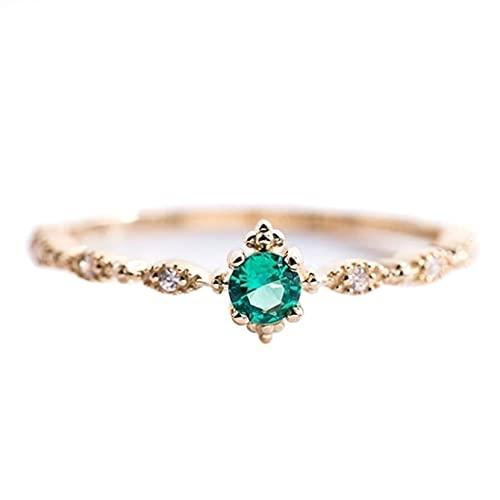 ZJHGQ Anillo de cristal verde simple brillante de imitación diamante anillo de compromiso propuesta boda anillo fiesta joyería