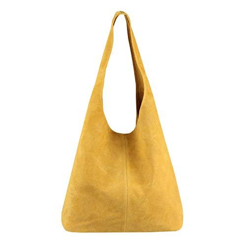 OBC Made IN Italy Damen Leder Hand-Tasche Shopper Schultertasche Hobo-Bag Henkeltasche Beuteltasche (Senf)