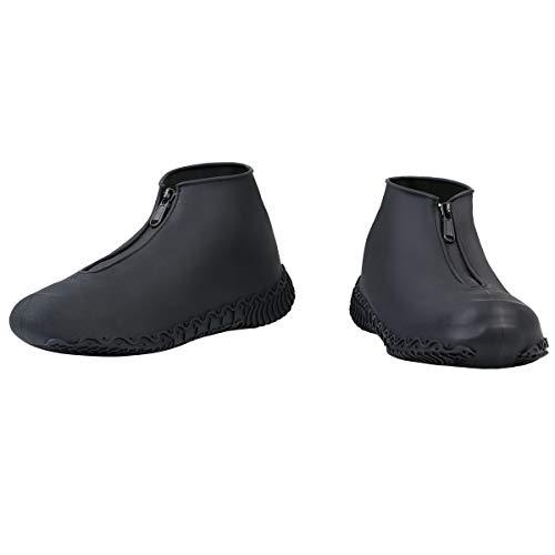 Vicloon Cubierta del Zapato, Funda de Silicona para Zapatos con Suela Antideslizante y Diseño de Cremallera, Funda de Zapato Reutilizable & Impermeable para Días de Lluvia y Nieve (Tamaño XL, Negro)