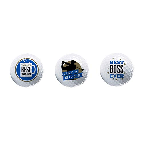Funny Boss Gift - Novelty Golf Ball 3 Pack - Great Gift for Bosses Day - Birthday - Christmas - Display Golf Balls with Premium Graphics in Giftable Packaging Golfer - Cool Boss - Coworker