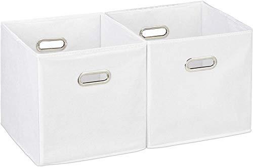 A-Generic Conjunto de 2 Cajas de Almacenamiento sin Tapa con Mango Plegable Cesta de Tela Cuadrada 30 cm Cartón de poliéster Negro 30 x 30 30-Blanco, Blanca