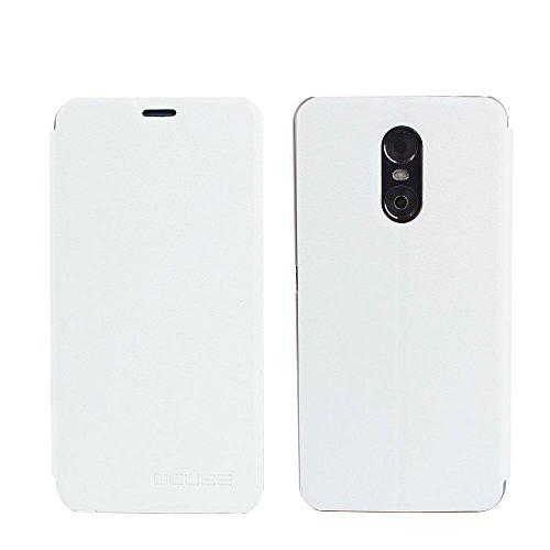 Ycloud Tasche für Ulefone Gemini Hülle, PU Ledertasche Metal Smartphone Flip Cover Hülle Handyhülle mit Stand Function Weiß