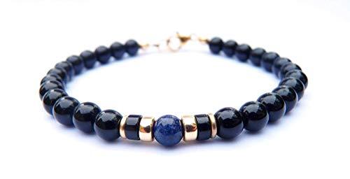 Mens 14K GF Genuine Sapphire September Birthstone Gold Gemstone Beaded Bracelets, Husband Father Son Boyfriend Gifts for Him, Jewels for Gents