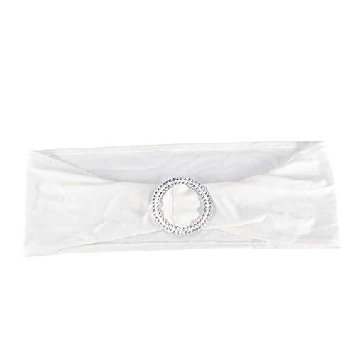 Cabilock Fajas de Silla de Spandex Banda de Silla con Hebilla de Diamante Banquete de Boda Decoración de Eventos de Fiesta Silla Arco (Blanco)