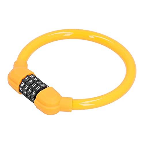 AMONIDA Candados para Bicicletas con Número De 4 Dígitos, Candados para Cables De Bicicletas Candados para Bicicletas para Exteriores para Ciclismo(Naranja)