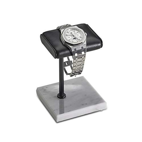 Handcrafted Leather & Marble Watch Display Stand for Rolex, Omega, Patek Philippe, Audemars Piguet, Richard Mille, Breitling, Tudor, Cartier, TAG Heuer (Black Pole - White Marble, Single Leather)