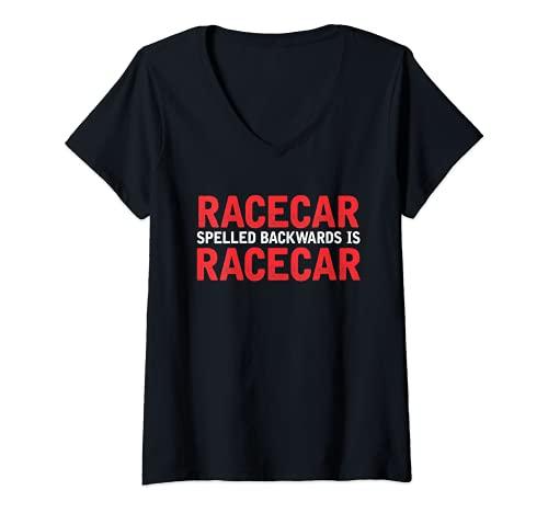 Mujer Racecar deletreado hacia atrás coche arrastre Racing Lover diseño Camiseta Cuello V