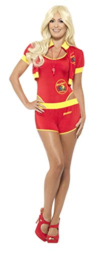Smiffy's - Dames Deluxe Baywatch reddingszwemmer kostuum, badpak, korte broek, jas en pijp, meerkleurig Small Red & Yellow