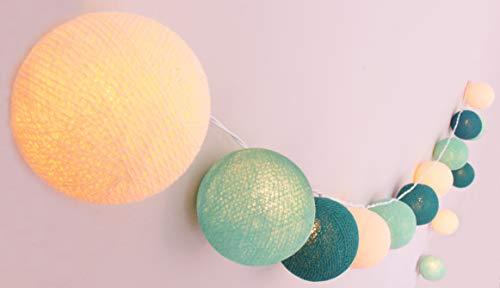 CREATIVECOTTON LED Lichterkette mit Cotton Balls inkl. Timer und Dimmer (Aqua, 20 Kugeln)