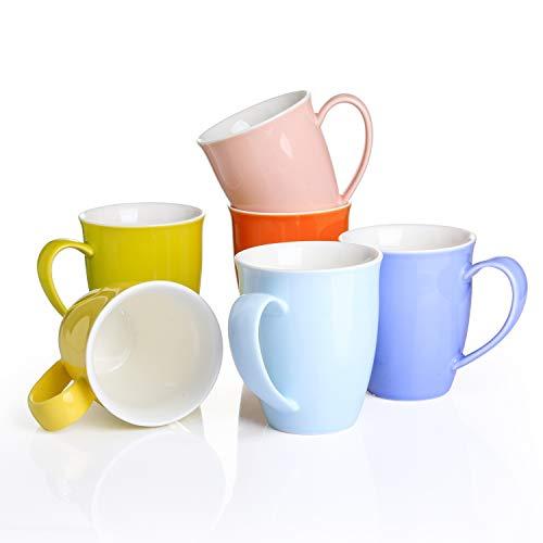 Panbado, 6-TLG. Set Porzellan Tassen, 310 ml Farbig Becher Set, Kaffeetasse, Milch Kaffee Becher, Teetasse, Mug mit henkel für Heißgetränke, Kaffee, Tee, Milch, Kakao, Keramik Becher