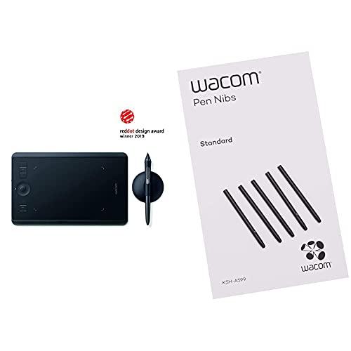 Wacom Intuos Pro Grafiktablett (Größe: S)/Kleines, professionelles Stifttablett (inkl. Wacom Pro Pen 2 Eingabestift mit Ersatzspitzen) & E-Learning & Standard Stiftspitzen, schwarz 5-TLG.