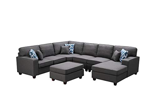 Lilola Home Willowleaf 7Pc Modular Sectional Sofa Chaise and Ottoman