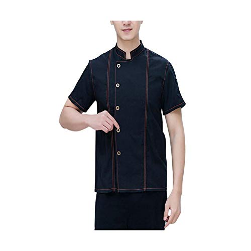 Bakery Pastry Chef Cook Wear Chef Uniforms Jacket Short-Sleeved Hotel Restaurant for Women and Men Kitchen Clothes Black