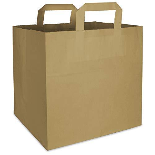pack2go 250 Premium Bio Papiertragetaschen mit Henkel Papiertüten Tüten Einkaufstaschen Tragetaschen Einkaufstüten Kreuzbodenbeutel Kraftpapiertüte braun 32 + 17 x 44 cm