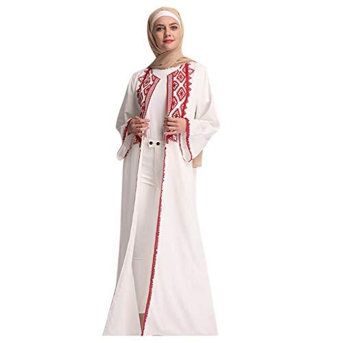 Musulmans Femme, Robe de Prière Musulmane Femmes Musulmanes Tops Manches Longues Mousseline d'or Islamique Arab Rayure Fleur de Broderie Musulman Vintage Vêtements