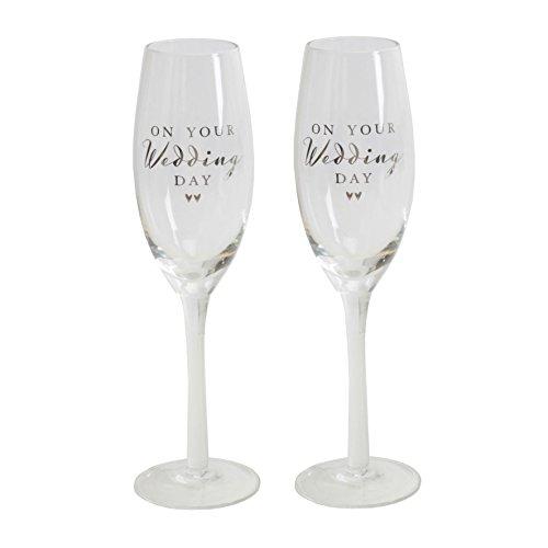 Amore By Juliana Lot de 2 sur Le Jour de Votre Mariage flûtes à Champagne en Verre Crème Boîte de présentation