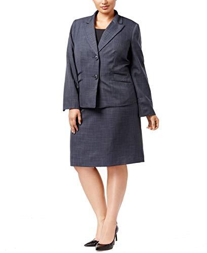 Le Suit Women's Plus Size Melange Twill 2 Button Skirt, Blue Steel, 14W