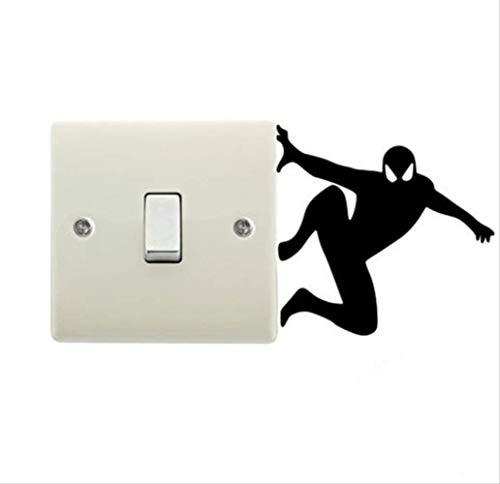 Etiqueta De La Pared Creativo Spiderman Silueta Extraíble Interruptor Pegatinas De Dibujos Animados Superhéroe Calcomanías De Vinilo Decoración Del Hogar Para Niños Habitación