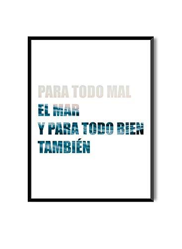MILUKA Kunstdruck zum Einrahmen als Wandbild | Poster mit motivierendem Sprichwort MENSAJES | Wave (20 x 30 cm)