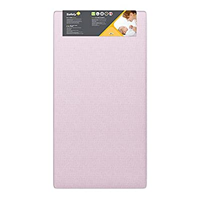 Safety 1st Heavenly Dreams Pink Crib & Toddler Bed Mattress for Baby & Toddler, Water Resistant, Lightweight, Hypoallergenic, Green Guard Gold Certified