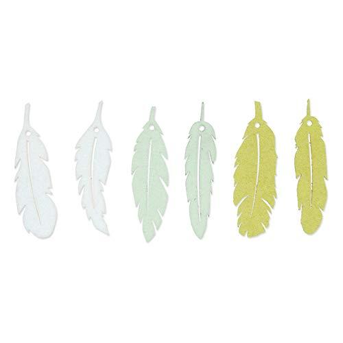 Artif Lot de 6 Plumes en Feutrine Coloris Blanc Menthe et Vert, 2,3-3,1 x 10 cm, pour Scrapbooking ou à Suspendre