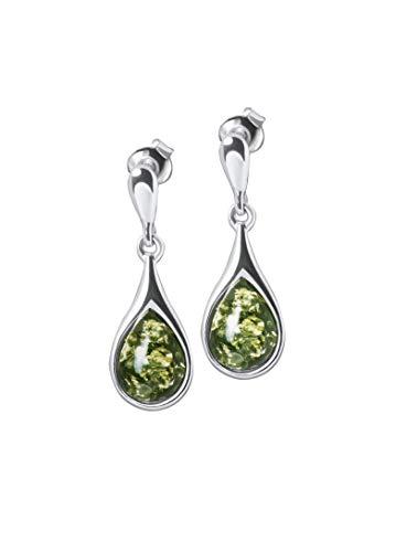 ANDANTE Premium Collection - Auténticos pendientes de ámbar del mar del Este en plata de ley 925 ** Gotas largas ** Certificado - Oro del mar - Color Verde