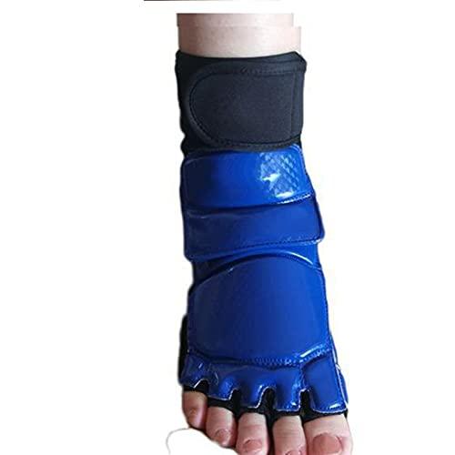 Marekyhm-es Taekwondo Cuero Foot Guantes Speca Karate Tobillo Protector Guardia Engranaje Boxeo Arts Martial Foot Guard Sock Adulto Kid (Color : Blue, Size : XS)