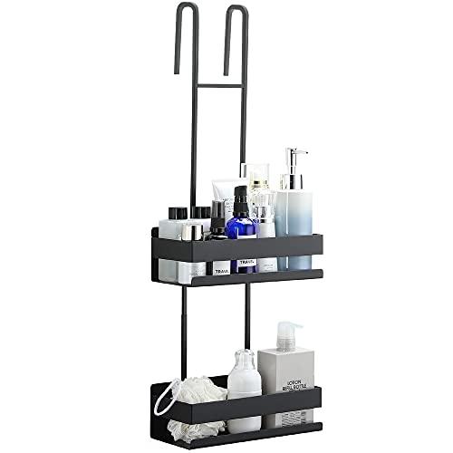 RUICER Estante de ducha doble sin taladrar, cesta de ducha para colgar, estante de ducha de acero inoxidable para cuarto de baño, color negro