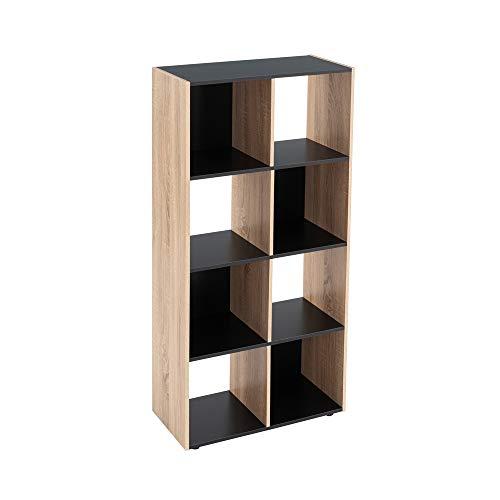 Estantería Cubo de Madera MDF Negra y Beige contemporánea, de 60x29x120 cm - LOLAhome