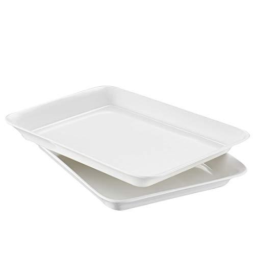 i BKGOO Vassoi da Portata in Melamina, 2 Confezioni da Vassoio in Plastica per Fast Food (bianco 22,5 x 16,5 cm)