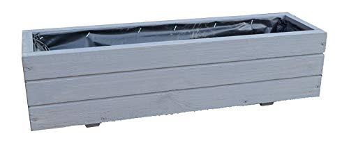 FKL Pflanzkasten Holz Pflanzkübel Balkon Garten fertig montiert D6 Grau (Länge 90 cm)