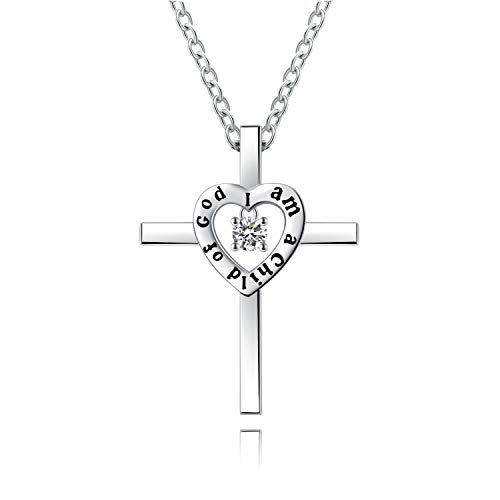Tiny Sterling Silver Cross Necklace Birthday Christmas Graduation Gift for Girls Kids Teens Religious Jewelry-I am a Child of God Dancing Crystal Love Heart Cross Pendant