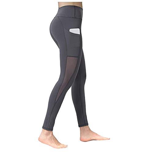 Lenfeshing Leggings Mujer Deporte Cintura Alta Mallas Pantalones Deportivos Leggins con Bolsillos para Yoga Pilates Running Fitness Gimnasio