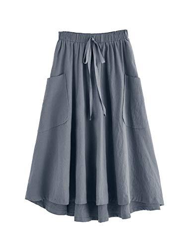 SweatyRocks Women's Casual High Waist Pleated A-Line Midi Skirt with Pocket Grey M