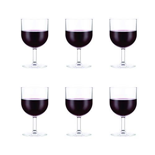 Bodum 11925-10SA OKTETT - Juego de 6 Copas de Vino Tinto (plástico, 0,25 litros)